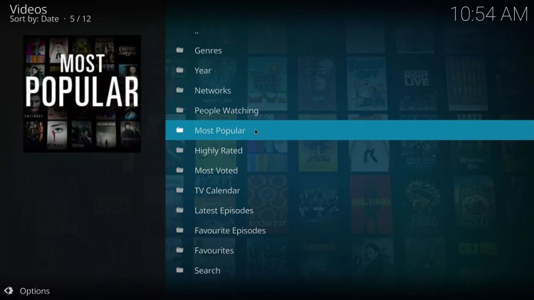most popular tv shows category on specto for kodi krypton with estuary