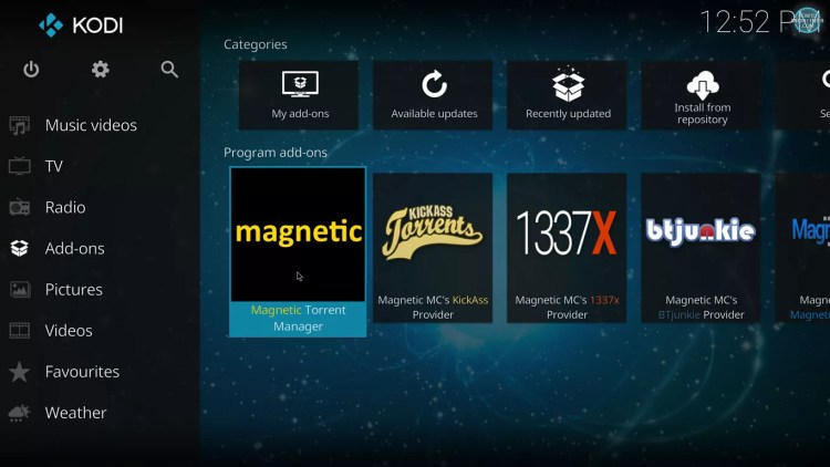 Manage torrents with Magnetic on Kodi 17 krypton with estuary