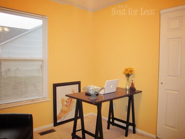 Yellow Stenciled Wall for My New Home OfficeCraft Room