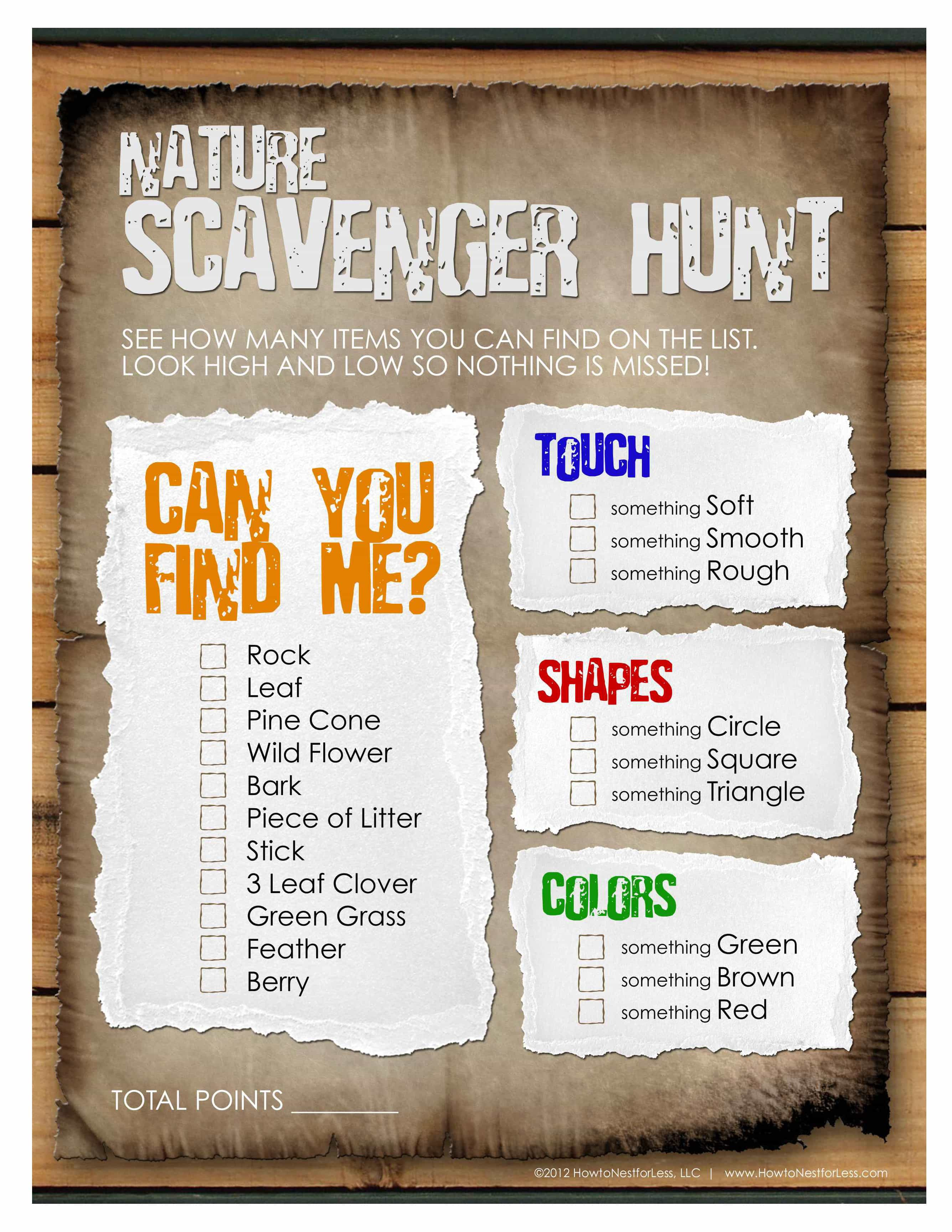 Nature Scavenger Hunt For The Kids Free Printable