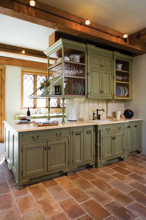 yellow pine kitchen cabinets pegboard unexpected pop of color: - how to nest ...
