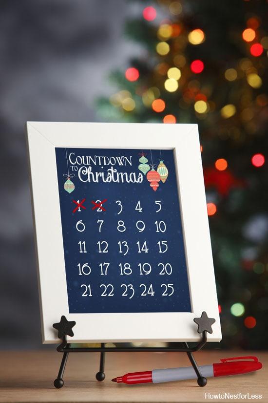 Christmas Countdown Calendar FREE Printable  How to Nest for Less