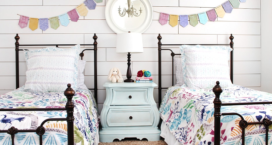 Girl Cottage Bedroom with Shiplap Walls and Painted Furniture