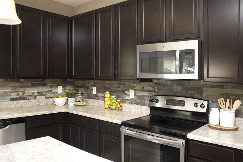 kitchen backslash rustic faucets faux stone backsplash how to nest for less not too bad considering the now looks amazing and we knocked it out in two short evenings with 3 kids running around