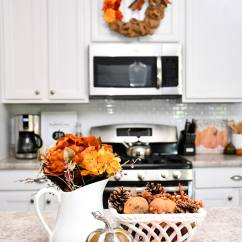 Fall Kitchen Decor Cabinets Painted House Tour With Decorating Ideas And Projects The Island Got A Little Love Some New Flowers Pumpkins Sweet Smelling Potpourri I Also Added Colorful Plates To Our Diy