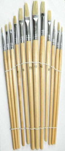Set of 12 Flat Tipped Brushes. Water Colour Acrylic & Oil Painting Artists ACC-1021