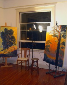 Studio with large format paintings painted from plein air pieces
