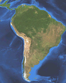 South America satellite image