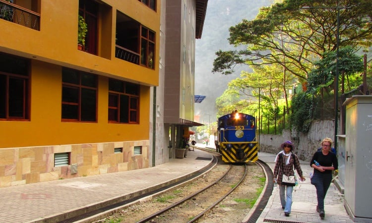 Peru Rail train arriving at Aguas Calientes