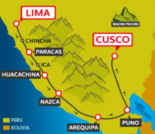 map of full south to cusco - how to get from lima to machu picchu