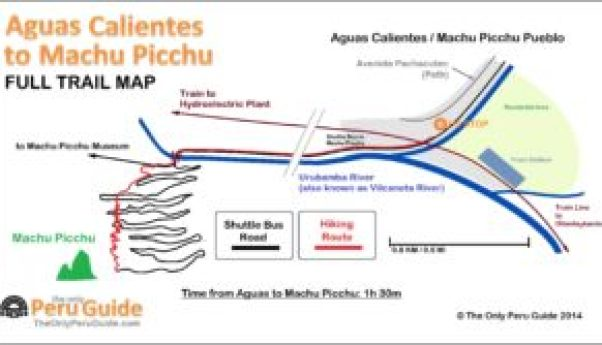 map of trail path from aguas calientes to machu picchu - how to get from lima to machu picchu