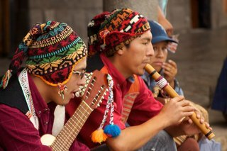top peruvian souvenirs - band playing traditional peruvian instruments