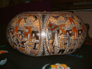 top peruvian souvenirs - a carved gourd