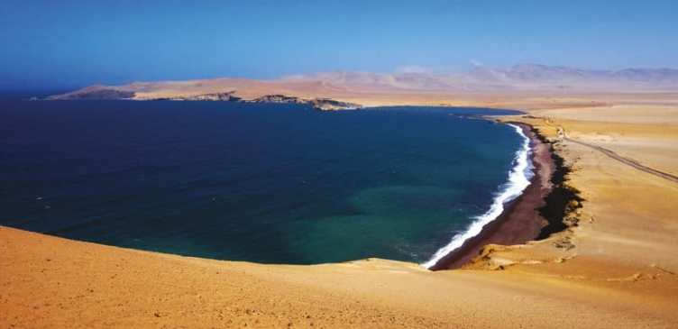 ATV riding Paracas dune buggy tour stop at Paracas National Reserve Red Beach