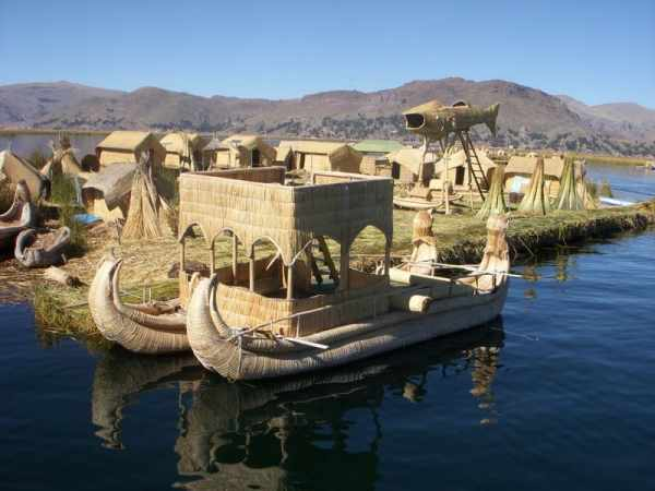 Uros Floating Islands Made of Totora Reed in Puno Peru Lake Titicaca