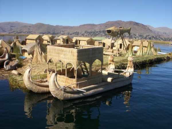 Uros Floating Islands Made of Totora Reed in Puno Peru Lake Titicaca