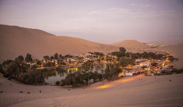 Peru Desert Oasis at night