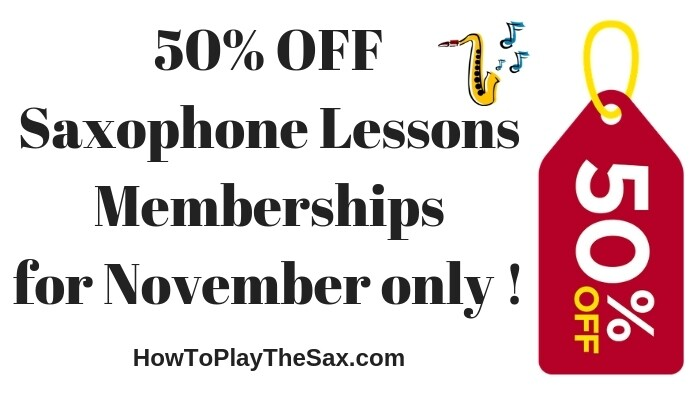 50% OFF Saxophone Lessons Memberships for November only