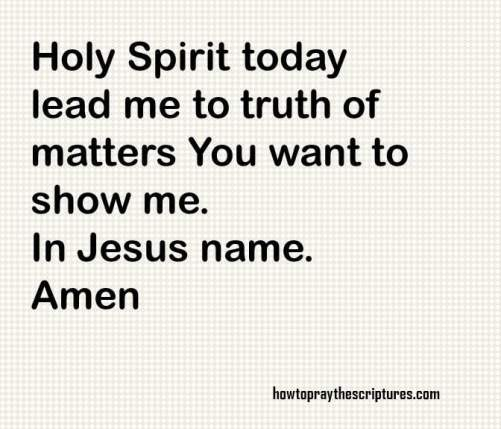 Holy Spirit lead me to truth of matters you want to show me. In Jesus name, Amen
