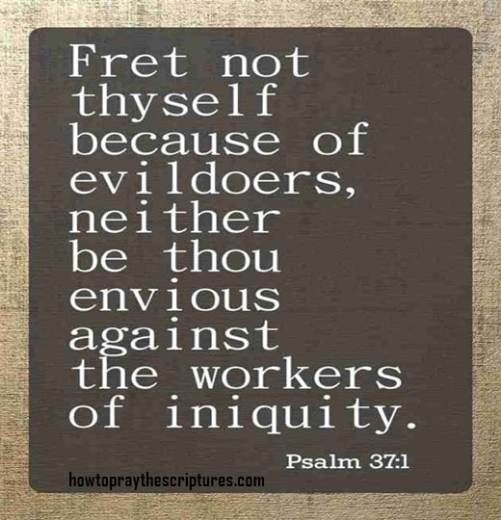 Fret Not Thyself Because Of Evildoers
