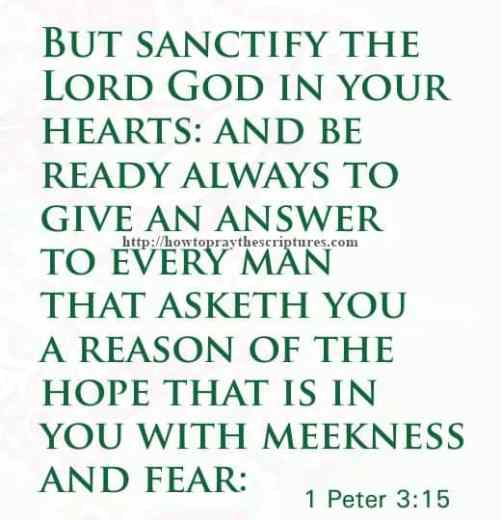 But Sanctify The Lord God In Your Hearts 1 Peter 3-15