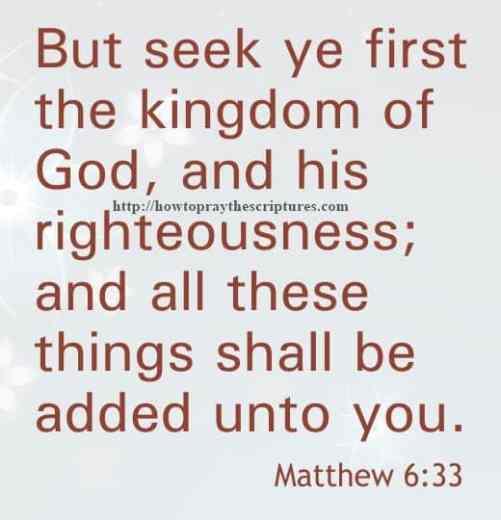 But Seek Ye First The Kingdom Matthew 6-33