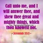 Call Unto Me And I Will Answer Thee Jeremiah 33-3