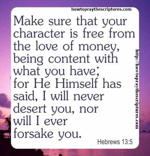Make Sure That Your Character Is Free From The Love Of Money