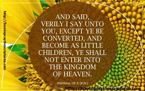 And said, Verily I say unto you, Except ye be converted, and become as little children, ye shall not enter into the kingdom of heaven. Matthew 18:3 (KJV)