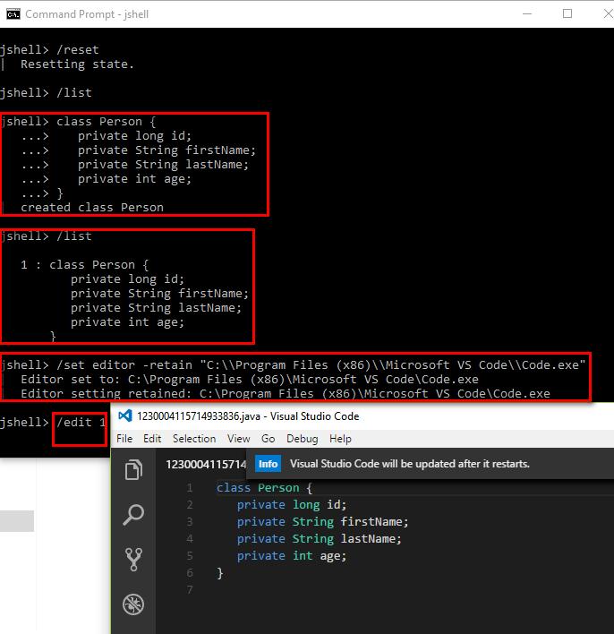 Java 9 JShell Cheat Sheet - Edit Snippets