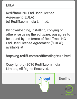 Sign Up for Rediffmail from mobile