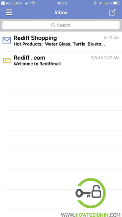 rediffmail mobile inbox