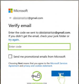 microsoft sign up verification