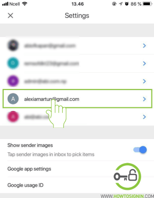 choose gmail account to change password mobile
