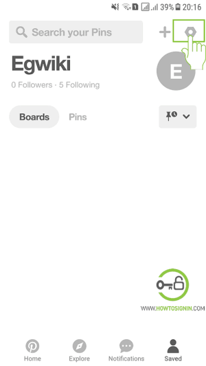 pinterest sign out from mobile