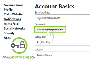 pinerest password change