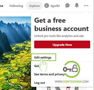 change your pinterest password