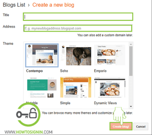 create new blog in blogger.com