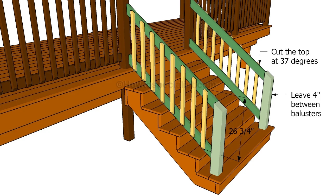 How To Build A Porch Stair Railing Howtospecialist How To | Wooden Handrails For Outdoor Steps | Wall Mounted Wooden | Porch | Outdoor Garden Path | Outdoor Decking | Small