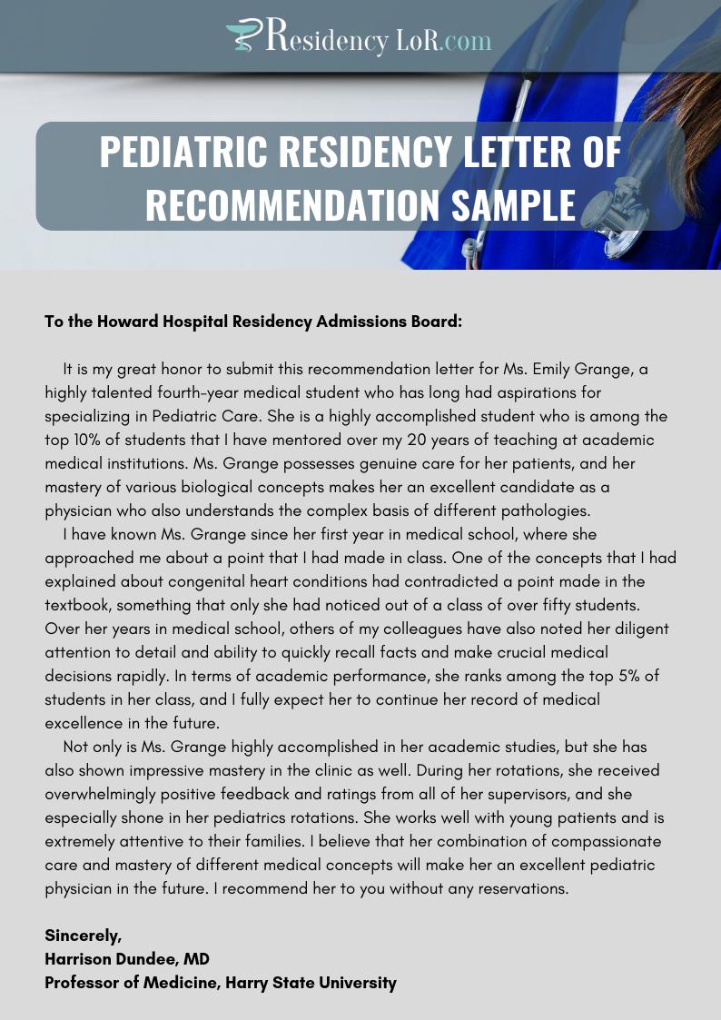 pediatric residency letter of recommendation sample