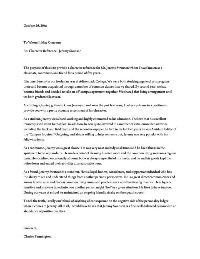 Negative Character Reference Letter For Court - Find Your