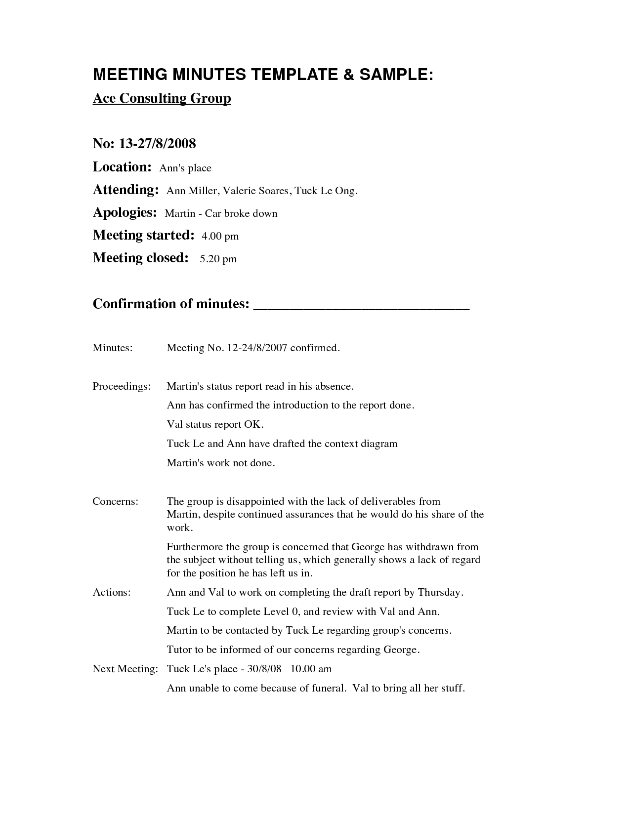 Meeting Minutes Template Absent Invitation Template Ideas