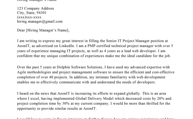 Project Manager Cover Letter Sample With Guide Let S Eat Cute766