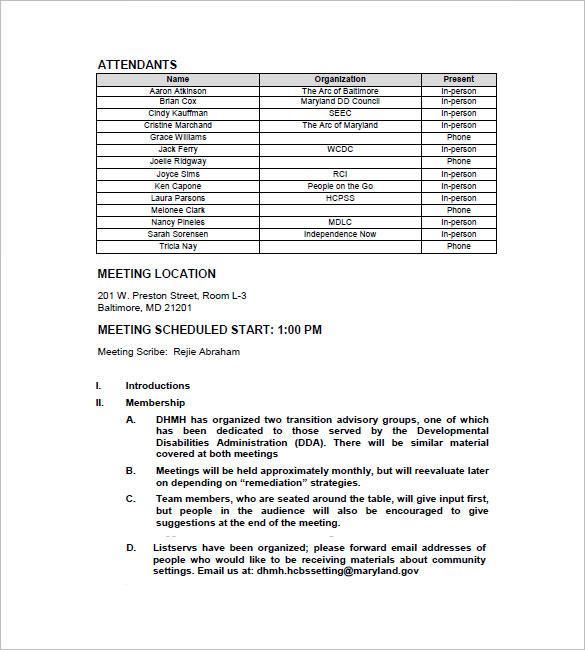 Weekly Team Meeting Minutes Template • Invitation Template Ideas