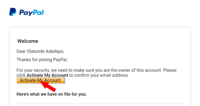 Paypal verify email