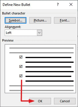How to type check mark symbol in Word