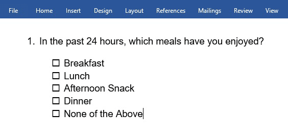 non-clickable check mark symbol in Word
