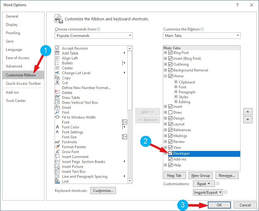 Showing the Developer tab in Word