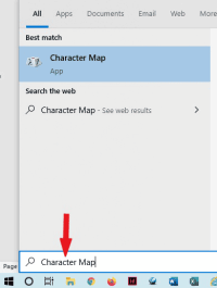 search for character map on windows