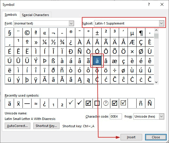 How to insert umlaut letters in Word